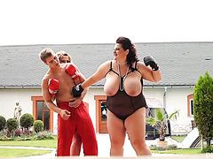 Boxing trainer fucks two big beautiful women outdoors