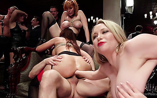 Anal fisting on crazy BDSM party with hot thick bitches