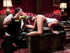 Fucking machine punishment and painful spanking on BDSM event