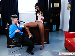 Black boss-lady Mya Mays gets sweaty on worker's white dick