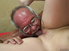 Teen Miranda Miller fucks fat old pervert and jacks him off