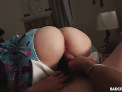 Scared stepdaughter Casey Ballerini is smashed in butt flap pajama - POV