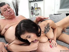 Young Darcia Lee plays with fat old man's tiny cock