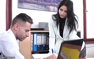 Emily Brinx has boss's cum on lunch in the office