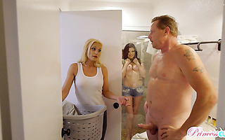 Sex obsessed Jessica Rex tempts stepdad to fuck her in the kitchen
