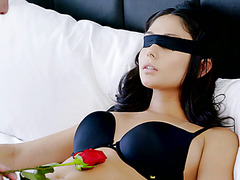 Blindfolded angel Ariana Marie is brought to unforgettable orgasms