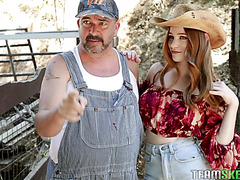 Redhead country girl Scarlett Snow is bonked by beefy cowboy