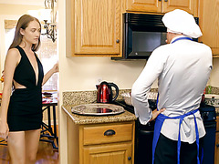 Samantha Hayes distracts bf from cooking with her hairy pussy