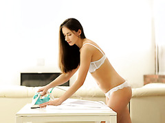 Hot housewife Aruna Aghora is good at ironing shirts and servicing hubby