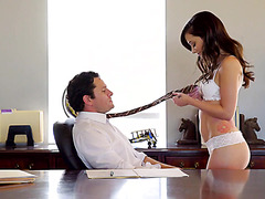 Perfect office sex with petite Gia Paige and huge dicked boss