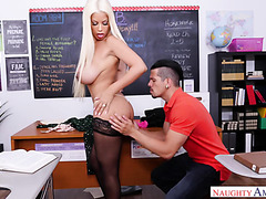 Curvy teacher Bridgette B is fucked by student on desk