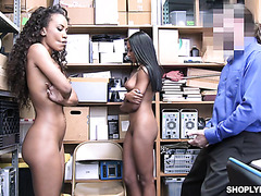 Ebony shoplifters Demi Sutra and Lala Ivey service white dick of mall cop