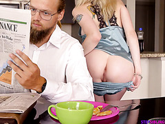 Little Lexi Lore is creampied by stepbro while dad sleeps - POV