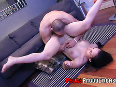 Snow white Canadian chick is pile driven and jizzed on tits