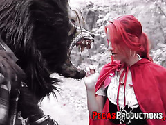 Little Red Riding Hood tames the wolf and his big dick in forest