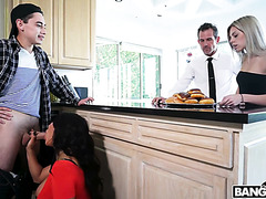 Insatiable stepmom August Taylor eats creampie and gets creampied