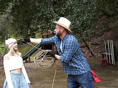 City girl Allie Nicole makes love with cocky cowboy at farm