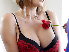 MILF Krissy Lynn is treated to rose and multiple orgasms by caring lover