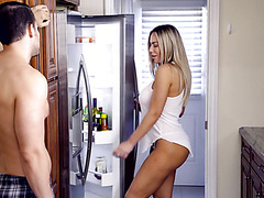 Bimbo stepmom Olivia Austin checks the fridge before fucking stepson