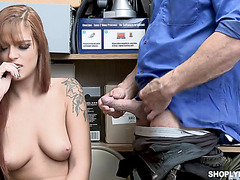 Poor redhead Scarlett Mae has to fuck mall cop to get free