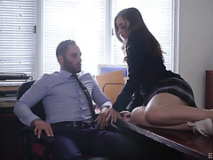 Danni Rivers, horny college girl, seduces handsome principal