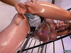 Ren Aizawa, busty Asian squirter, is oiled and fucked hard