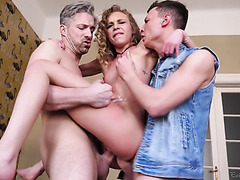 Tiny girl Angel Emily is swap fucked by huge dicks in gangbang