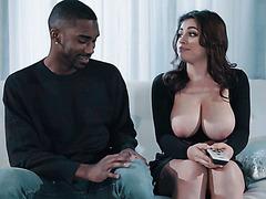 Ella Knox lets black stud admire her huge soft boobs