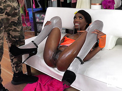 Chanel Skye is deepthroated, fucked in skinny black ass, and pissed