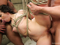 BDSM style banging of skanky brunette Juliette March in creepy basement