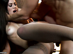 Classy French beauty Tiffany Doll takes fat shlong up her sphincter