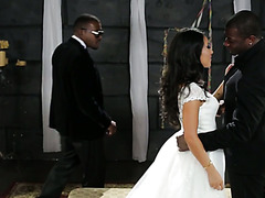 Slutty bride Asa Akira has threesome with two Black dudes