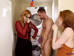 Redhead mom Edyn Blair and ginger stepsis Athena Rayne in family FFM