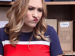 Silly plain teen Daisy Lynne takes cum inside her shoplifting pussy