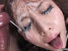 JAP cum slut Hikari Tsukino takes massive bukkake from 10 guys