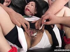 Ai Mizushima is tortured with q tips and magic wands before bukkake
