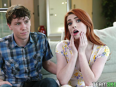 Aria Carson, dorky redhead girl with braces, gets doggystyled