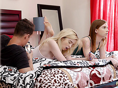 Ginger stepsis Pepper Hart and petite blonde BFF Lexi Lore in POV FFM