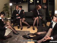 Japanese stewardesses are facesitting and fucking pilots in Asian orgy