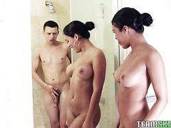 Alina Belle & Maya Farrell, hot Latina stepsisters, fuck shy stepbro in FFM