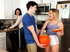 PAWG step-sister Aubrey Sinclair enjoys big dick in a Halloween pumpkin