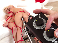 Two tied up Czech sluts getting corrupted by a fucking machine