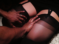Blindfolded girl in stockings get fucked in a mysterious dark room