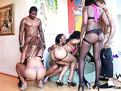 Wild party orgy with ebony chicks and boyz n the hood: The beginning