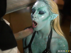 Busty alien babe from parallel universe handles monster cock
