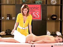 Erotic massage leads to scissoring between Dillion Harper and April O'Neil