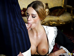Sexy housemaid Erica Fontes is happy to fuck a man in his big house