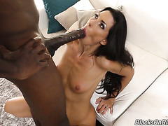 Gigantic Black dick invades Alexa Tomas' pink vagina and mouth