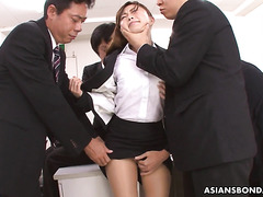 Japanese beauty Yuno Shirasuna gang fucked by the whole male office staff