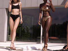Black queen Zaawaadi in lesbian 3way with Euro babes outdoors